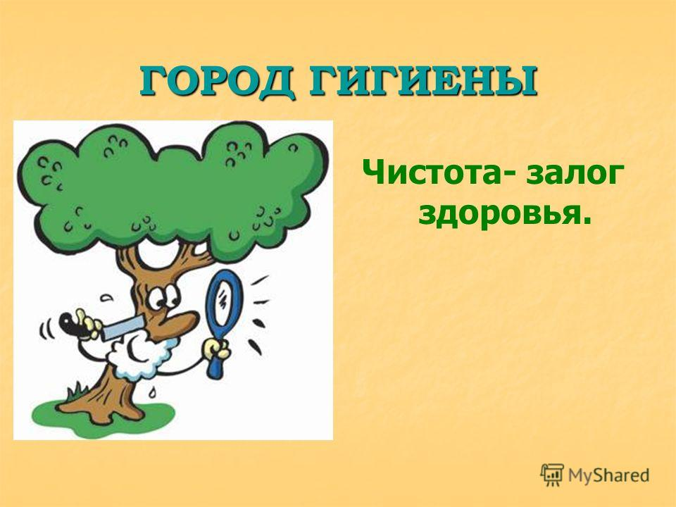 ГОРОД ГИГИЕНЫ Чистота- залог здоровья.