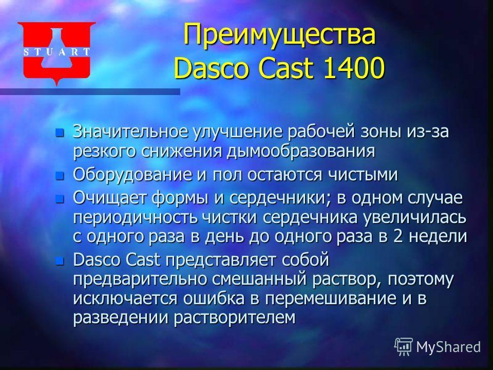 Преимущества Dasco Cast 1400 n Значительное улучшение рабочей зоны из-за резкого снижения дымообразования n Оборудование и пол остаются чистыми n Очищает формы и сердечники; в одном случае периодичность чистки сердечника увеличилась с одного раза в д