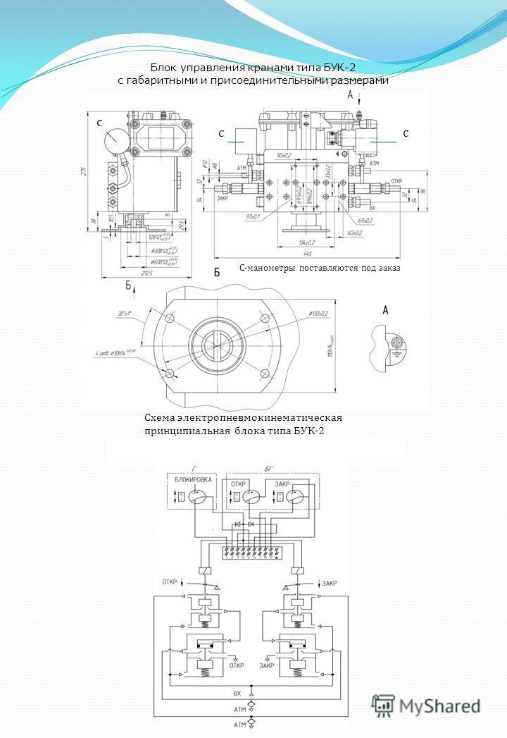 Блок управления кранами типа БУК-2 с габаритными и присоединительными размерами С-манометры поставляются под заказ с сс Схема электро пневмо кинематическая принципиальная блока типа БУК-2