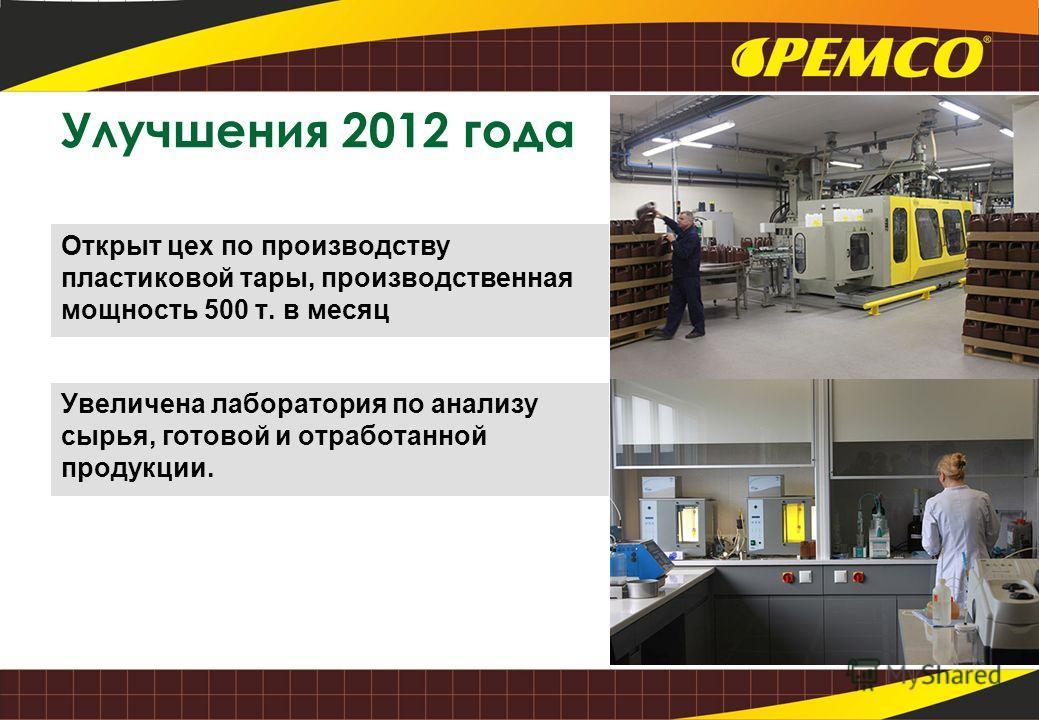 Открыт цех по производству пластиковой тары, производственная мощность 500 т. в месяц Улучшения 2012 года Увеличена лаборатория по анализу сырья, готовой и отработанной продукции.