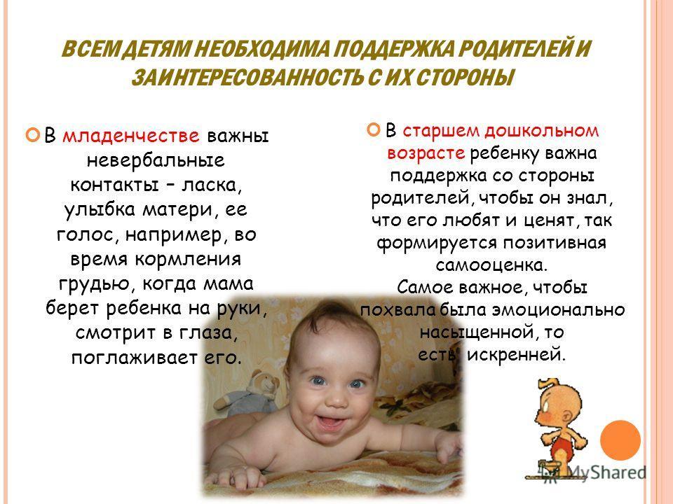 ВСЕМ ДЕТЯМ НЕОБХОДИМА ПОДДЕРЖКА РОДИТЕЛЕЙ И ЗАИНТЕРЕСОВАННОСТЬ С ИХ СТОРОНЫ В младенчестве важны невербальные контакты – ласка, улыбка матери, ее голос, например, во время кормления грудью, когда мама берет ребенка на руки, смотрит в глаза, поглажива