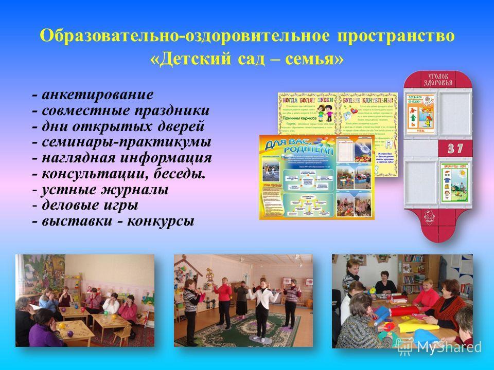 Образовательно-оздоровительное пространство «Детский сад – семья» - анкетирование - совместные праздники - дни открытых дверей - семинары-практикумы - наглядная информация - консультации, беседы. - устные журналы - деловые игры - выставки - конкурсы