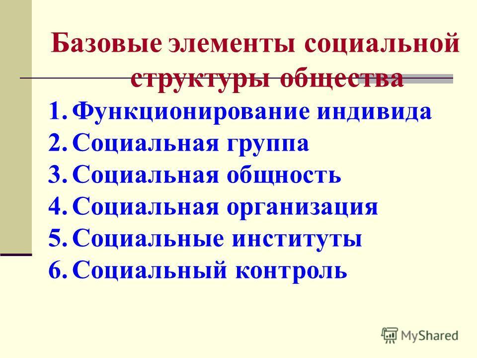 Базовые элементы социальной структуры общества 1. Функционирование индивида 2. Социальная группа 3. Социальная общность 4. Социальная организация 5. Социальные институты 6. Социальный контроль