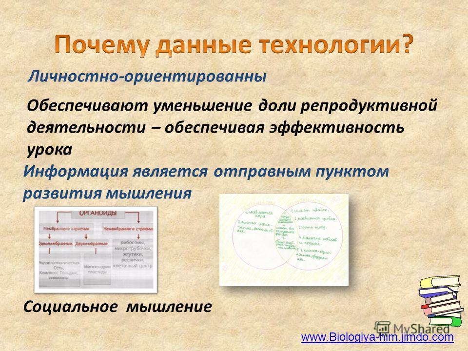 Личностно-ориентированный Обеспечивают уменьшение доли репродуктивной деятельности – обеспечивая эффективность урока Социальное мышление Информация является отправным пунктом развития мышления www.Biologiya-him.jimdo.com