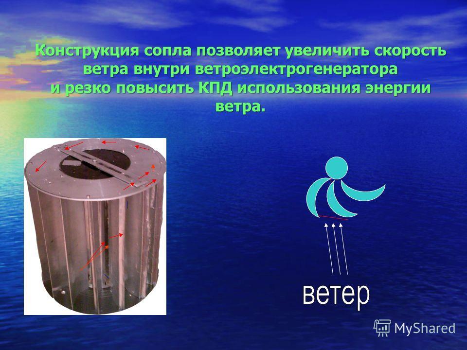 Конструкция сопла позволяет увеличить скорость ветра внутри ветроэлектрогенератора и резко повысить КПД использования энергии ветра.