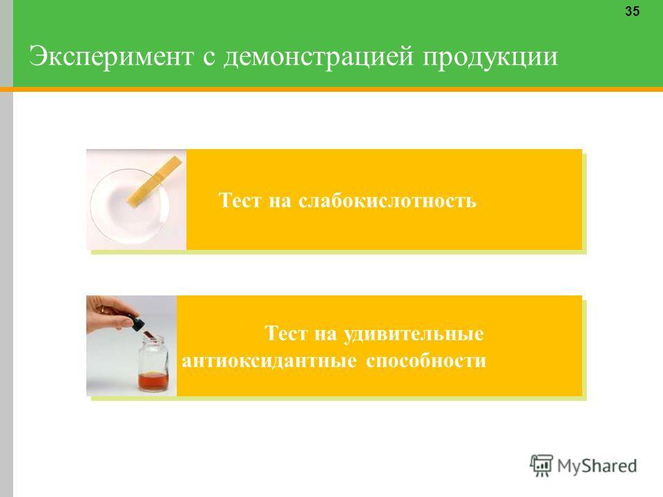 Эксперимент с демонстрацией продукции 35 Тест на слабо кислотность Тест на удивительные антиоксидантные способности