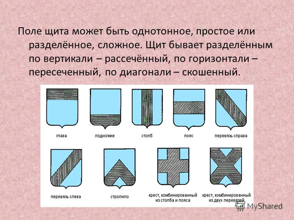Поле щита может быть однотонное, простое или разделённое, сложное. Щит бывает разделённым по вертикали – рассечённый, по горизонтали – пересеченный, по диагонали – скошенный.