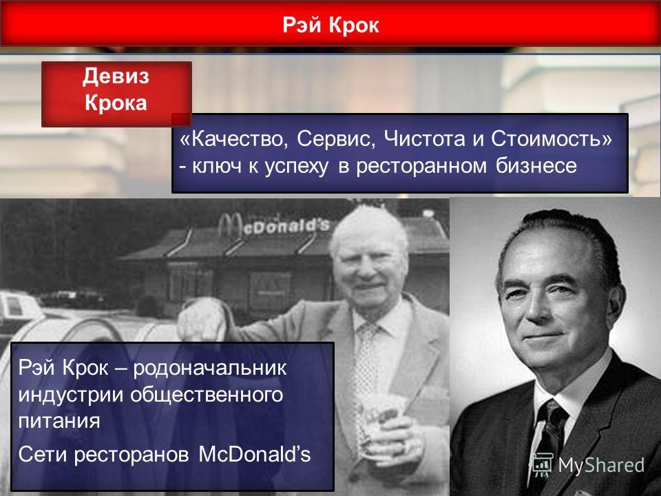 Рэй Крок «Качество, Сервис, Чистота и Стоимость» - ключ к успеху в ресторанном бизнесе Девиз Крока Рэй Крок – родоначальник индустрии общественного питания Сети ресторанов McDonalds