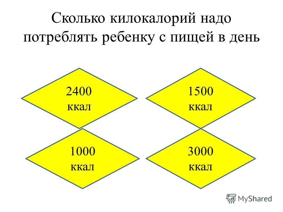 Сколько килокалорий надо потреблять ребенку с пищей в день 1500 ккал 1000 ккал 3000 ккал 2400 ккал