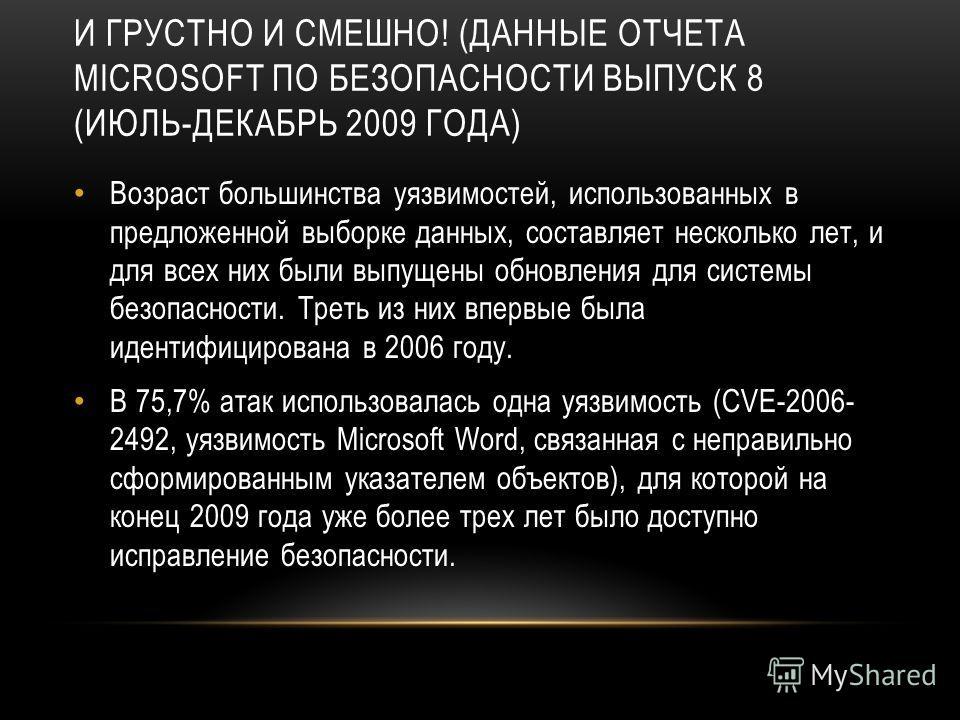 И ГРУСТНО И СМЕШНО! (ДАННЫЕ ОТЧЕТА MICROSOFT ПО БЕЗОПАСНОСТИ ВЫПУСК 8 (ИЮЛЬ-ДЕКАБРЬ 2009 ГОДА) Возраст большинства уязвимостей, использованных в предложенной выборке данных, составляет несколько лет, и для всех них были выпущены обновления для систем