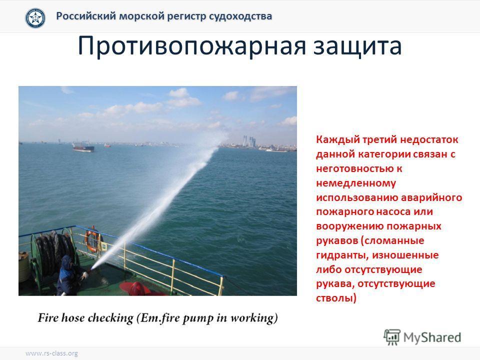 Противопожарная защита Российский морской регистр судоходства www.rs-class.org Каждый третий недостаток данной категории связан с неготовностью к немедленному использованию аварийного пожарного насоса или вооружению пожарных рукавов (сломанные гидран