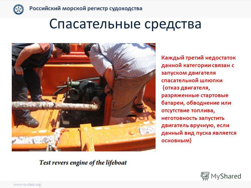 Спасательные средства Российский морской регистр судоходства www.rs-class.org Каждый третий недостаток данной категории связан с запуском двигателя спасательной шлюпки (отказ двигателя, разряженные стартовые батареи, обводнение или отсутствие топлива