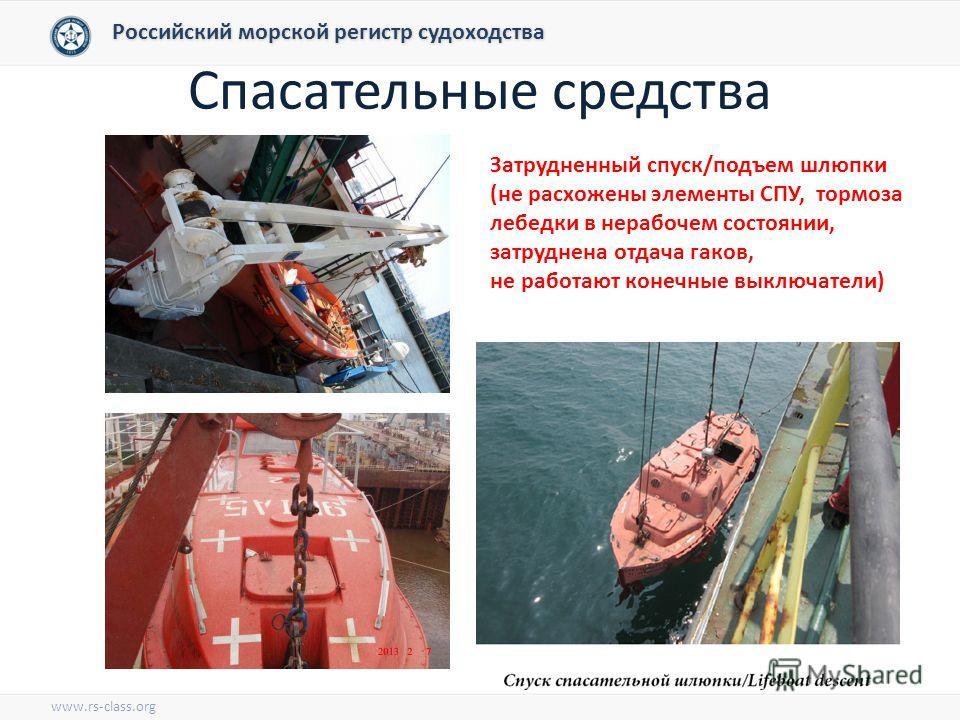 Спасательные средства Российский морской регистр судоходства www.rs-class.org Затрудненный спуск/подъем шлюпки (не расход жены элементы СПУ, тормоза лебедки в нерабочем состоянии, затруднена отдача гаков, не работают конечные выключатели)