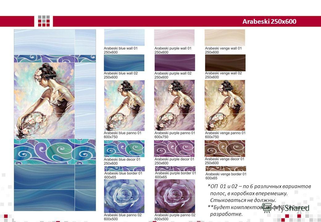 Arabeski 250x600 21 *ОП 01 и 02 – по 6 различных вариантов полос, в коробках вперемешку. Стыковаться не должны. **Будет комплектоваться КГ, сейчас в разработке.