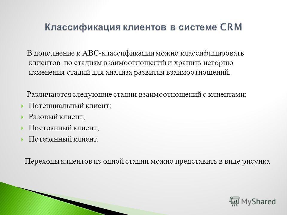 В дополнение к АВС - классификации можно классифицировать клиентов по стадиям взаимоотношений и хранить историю изменения стадий для анализа развития взаимоотношений. Различаются следующие стадии взаимоотношений с клиентами : Потенциальный клиент ; Р
