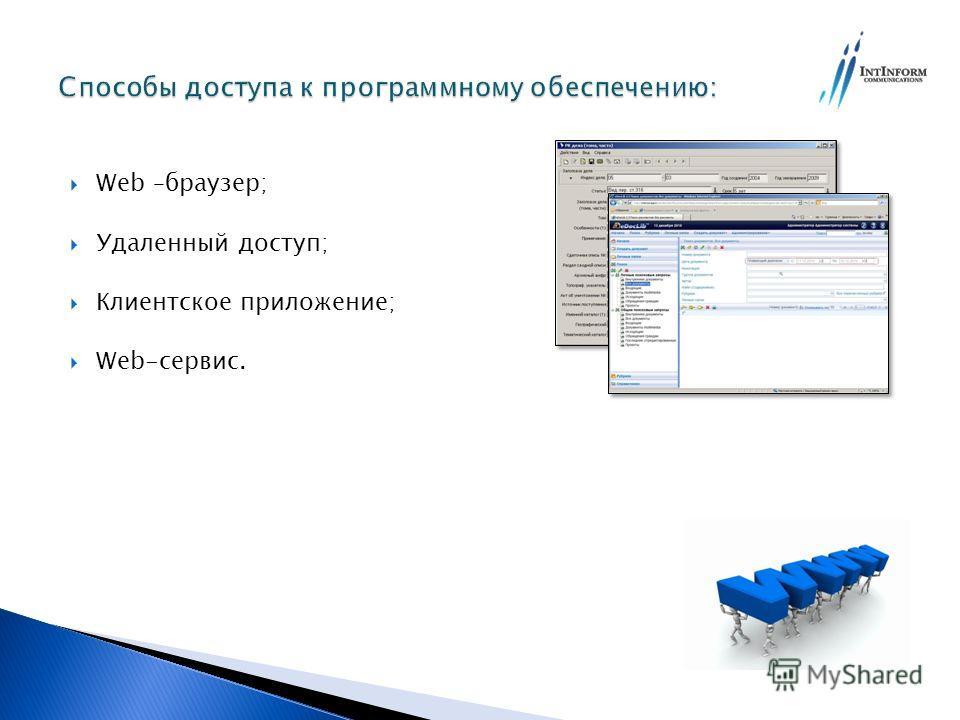 Web –браузер; Удаленный доступ; Клиентское приложение; Web-сервис.