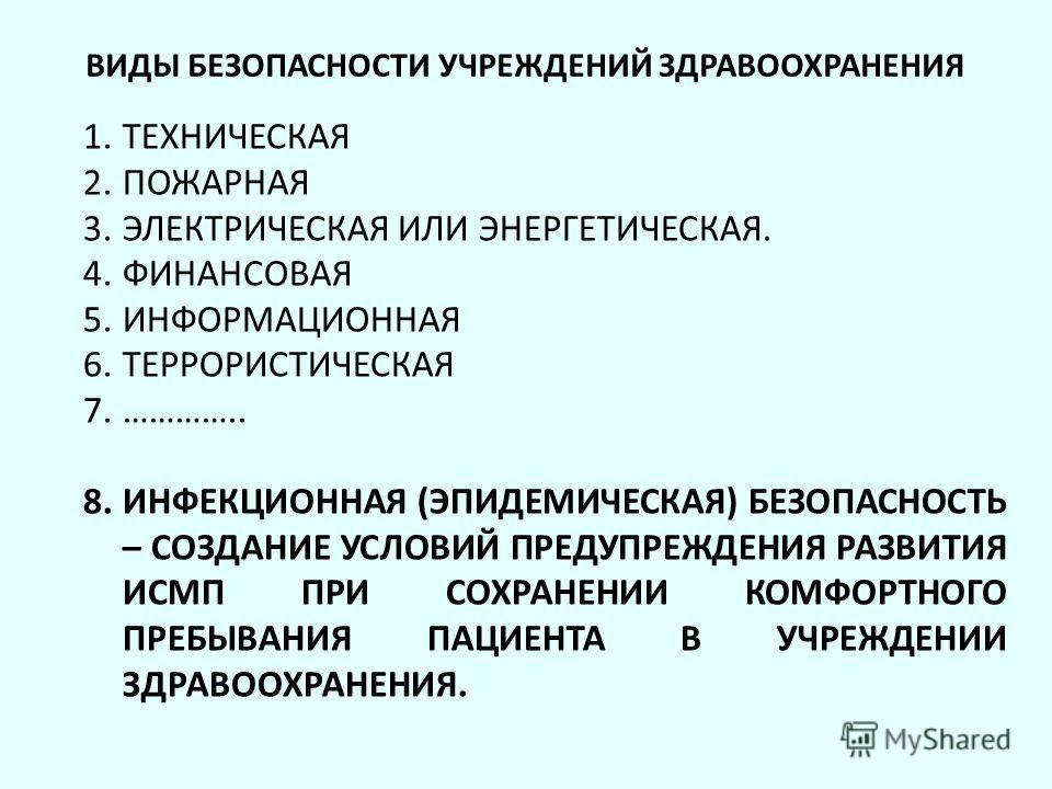 ВИДЫ БЕЗОПАСНОСТИ УЧРЕЖДЕНИЙ ЗДРАВООХРАНЕНИЯ 1. ТЕХНИЧЕСКАЯ 2. ПОЖАРНАЯ 3. ЭЛЕКТРИЧЕСКАЯ ИЛИ ЭНЕРГЕТИЧЕСКАЯ. 4. ФИНАНСОВАЯ 5. ИНФОРМАЦИОННАЯ 6. ТЕРРОРИСТИЧЕСКАЯ 7.………….. 8. ИНФЕКЦИОННАЯ (ЭПИДЕМИЧЕСКАЯ) БЕЗОПАСНОСТЬ – СОЗДАНИЕ УСЛОВИЙ ПРЕДУПРЕЖДЕНИЯ Р