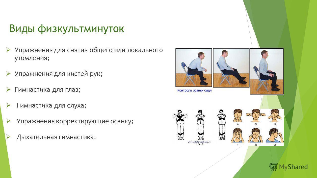 Виды физкультминуток Упражнения для снятия общего или локального утомления; Упражнения для кистей рук; Гимнастика для глаз; Гимнастика для слуха; Упражнения корректирующие осанку; Дыхательная гимнастика.
