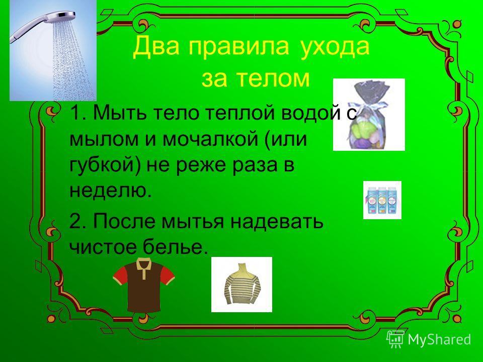 Два правила ухода за телом 1. Мыть тело теплой водой с мылом и мочалкой (или губкой) не реже раза в неделю. 2. После мытья надевать чистое белье.