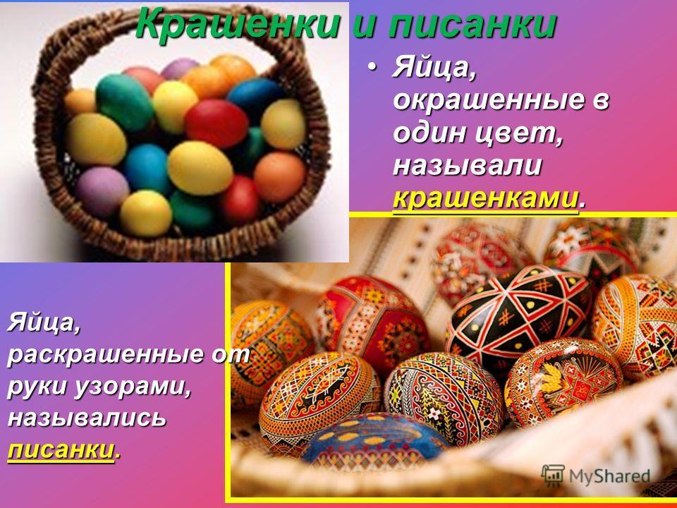 Крашенки и писанки Яйца, окрашенные в один цвет, называли крашенками.Яйца, окрашенные в один цвет, называли крашенками. Яйца, раскрашенные от руки узорами, назывались писанки.