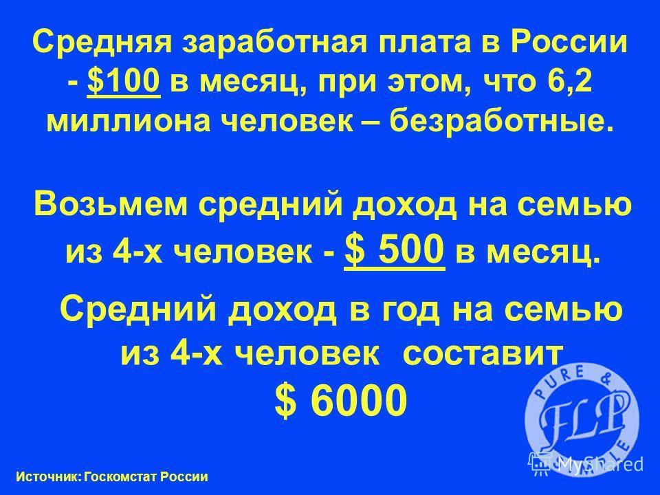 Средняя заработная плата в России - $100 в месяц, при этом, что 6,2 миллиона человек – безработные. Возьмем средний доход на семью из 4-х человек - $ 500 в месяц. Средний доход в год на семью из 4-х человек составит $ 6000 Источник: Госкомстат России
