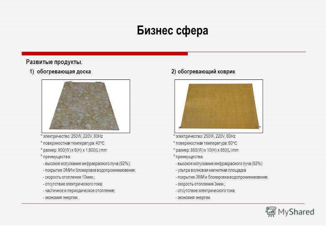 Бизнес сфера Развитые продукты. 1) обогревающая доска 2) обогревающий коврик * электричество: 250W, 220V, 60Hz * поверхностная температура: 40 * размер: 900(W) x 6(H) x 1,800(L) mm * преимущества: - высокое испускание инфракрасного луча (92%); - покр