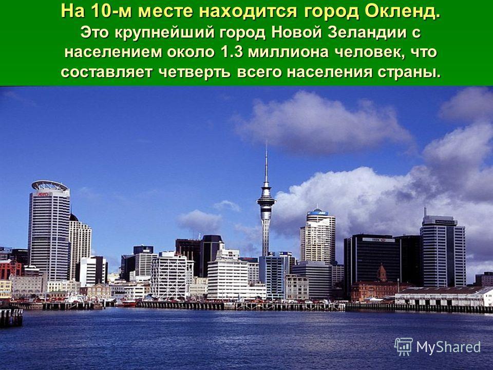 На 10-м месте находится город Окленд. Это крупнейший город Новой Зеландии с населением около 1.3 миллиона человек, что составляет четверть всего населения страны.
