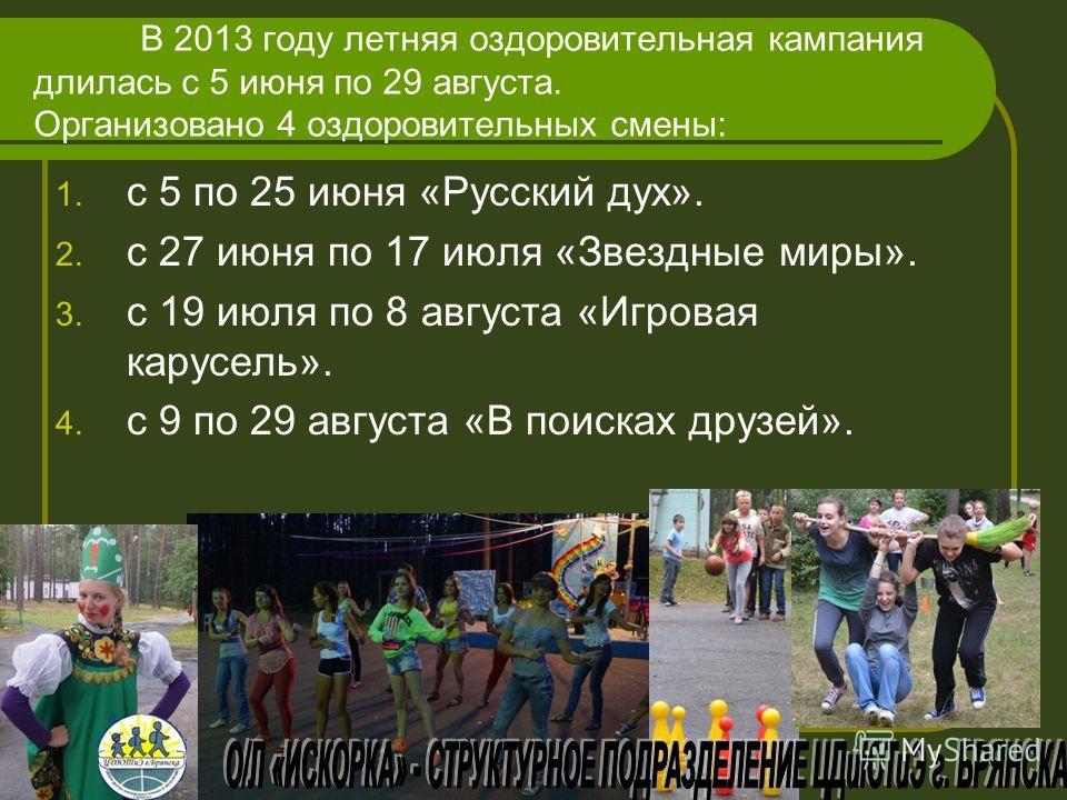 В 2013 году летняя оздоровительная кампания длилась с 5 июня по 29 августа. Организовано 4 оздоровительных смены: 1. с 5 по 25 июня «Русский дух». 2. с 27 июня по 17 июля «Звездные миры». 3. с 19 июля по 8 августа «Игровая карусель». 4. с 9 по 29 авг