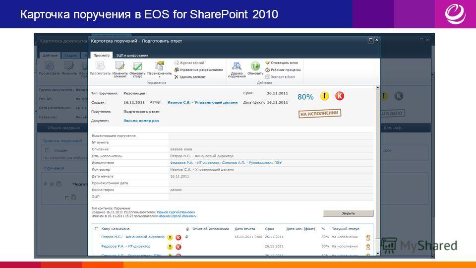 Карточка поручения в EOS for SharePoint 2010