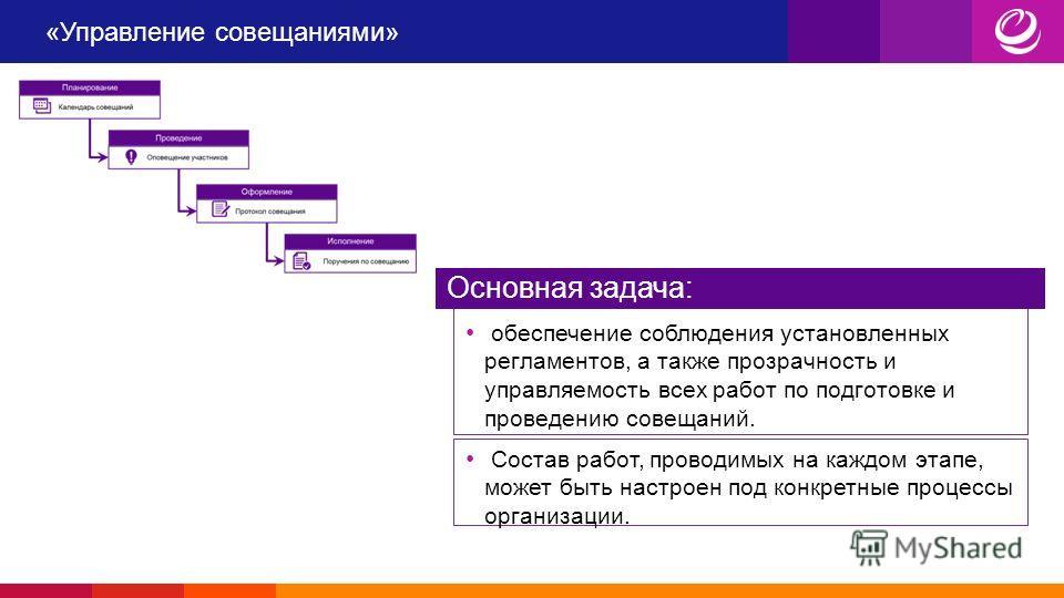 «Управление совещаниями» обеспечение соблюдения установленных регламентов, а также прозрачность и управляемость всех работ по подготовке и проведению совещаний. Основная задача: Состав работ, проводимых на каждом этапе, может быть настроен под конкре