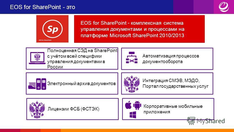 EOS for SharePoint - это Электронный архив документов Автоматизация процессов документооборота EOS for SharePoint - комплексная система управления документами и процессами на платформе Microsoft SharePoint 2010/2013 Интеграция СМЭВ, МЭДО, Портал госу