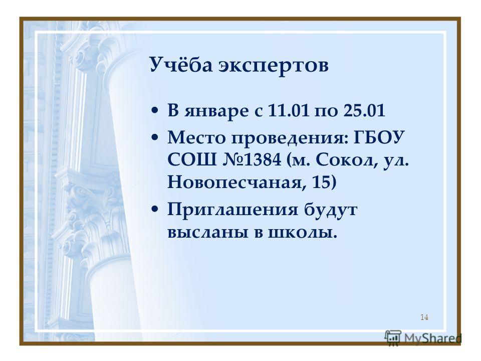 Учёба экспертов В январе с 11.01 по 25.01 Место проведения: ГБОУ СОШ 1384 (м. Сокол, ул. Новопесчаная, 15) Приглашения будут высланы в школы. 14
