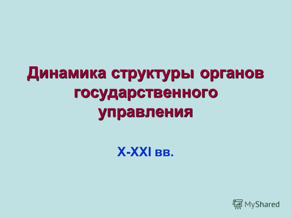 Динамика структуры органов государственного управления Х-ХХI вв.
