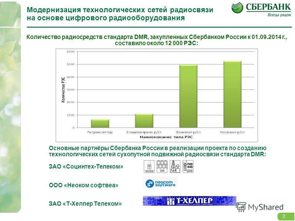 2 Модернизация технологических сетей радиосвязи на основе цифрового радиооборудования Количество радиосредств стандарта DMR, закупленных Сбербанком России к 01.09.2014 г., составило около 12 000 РЭС: 2 Основные партнёры Сбербанка России в реализации