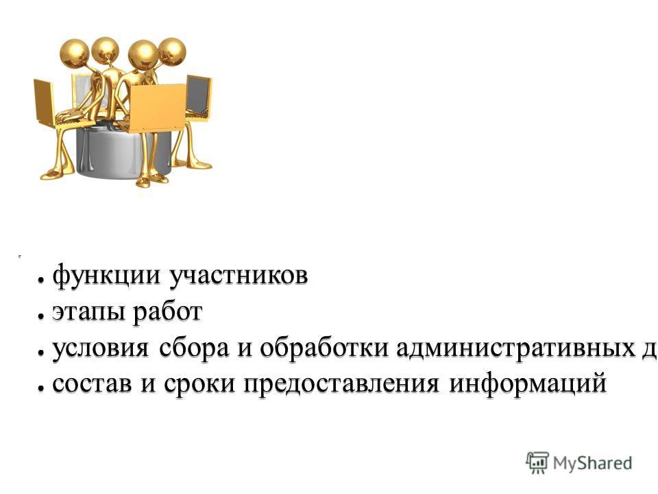 функции участников этапы работ условия сбора и обработки административных данных состав и сроки предоставления информаций функции участников этапы работ условия сбора и обработки административных данных состав и сроки предоставления информаций