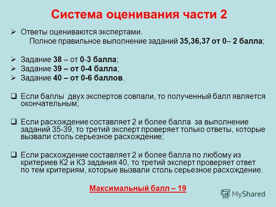 Система оценивания части 2 Ответы оцениваются экспертами. Полное правильное выполнение заданий 35,36,37 от 0– 2 балла; Задание 38 – от 0-3 балла; Задание 39 – от 0-4 балла; Задание 40 – от 0-6 баллов. Если баллы двух экспертов совпали, то полученный