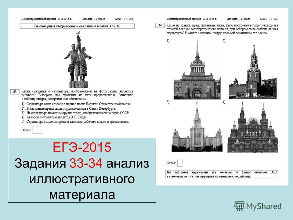 ЕГЭ-2015 Задания 33-34 анализ иллюстративного материала
