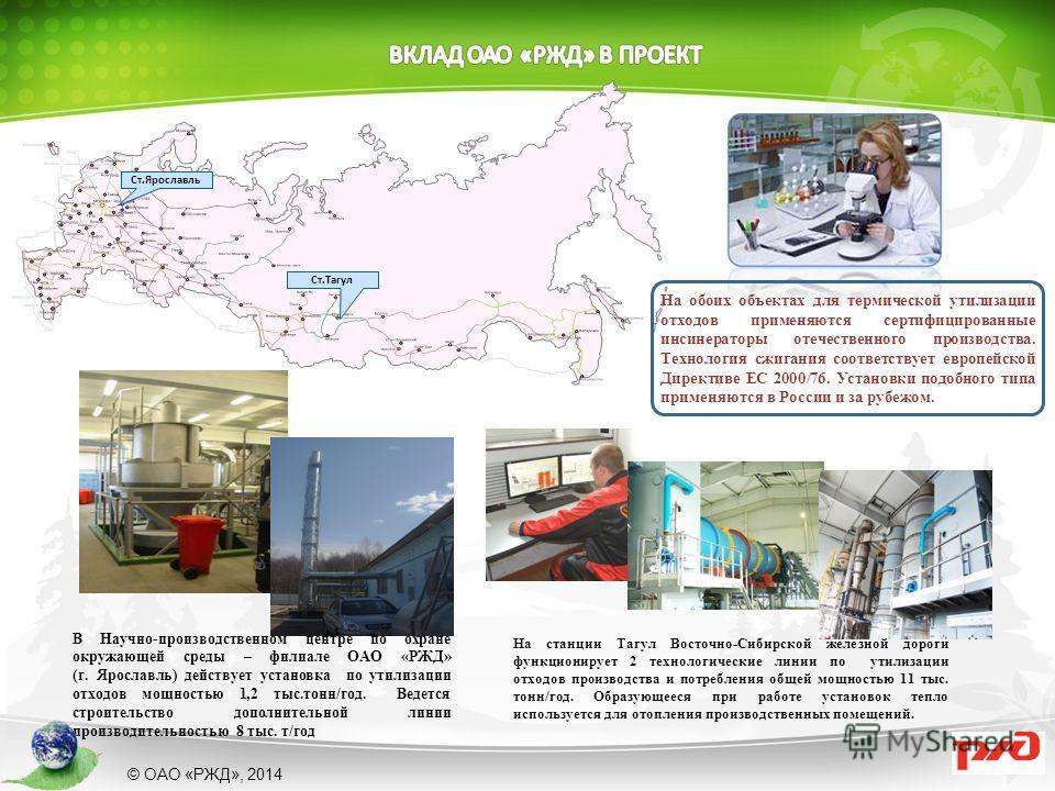 В Научно-производственном центре по охране окружающей среды – филиале ОАО «РЖД» (г. Ярославль) действует установка по утилизации отходов мощностью 1,2 тыс.тонн/год. Ведется строительство дополнительной линии производительностью 8 тыс. т/год На станци