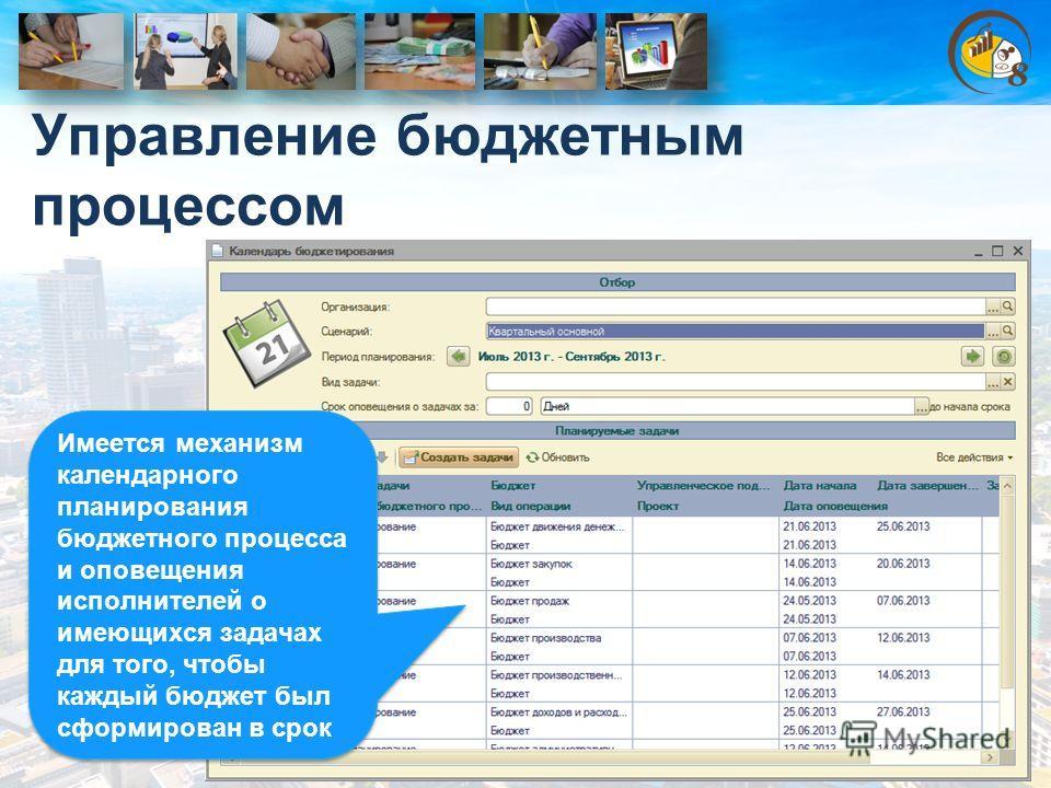 Управление бюджетным процессом Имеется механизм календарного планирования бюджетного процесса и оповещения исполнителей о имеющихся задачах для того, чтобы каждый бюджет был сформирован в срок