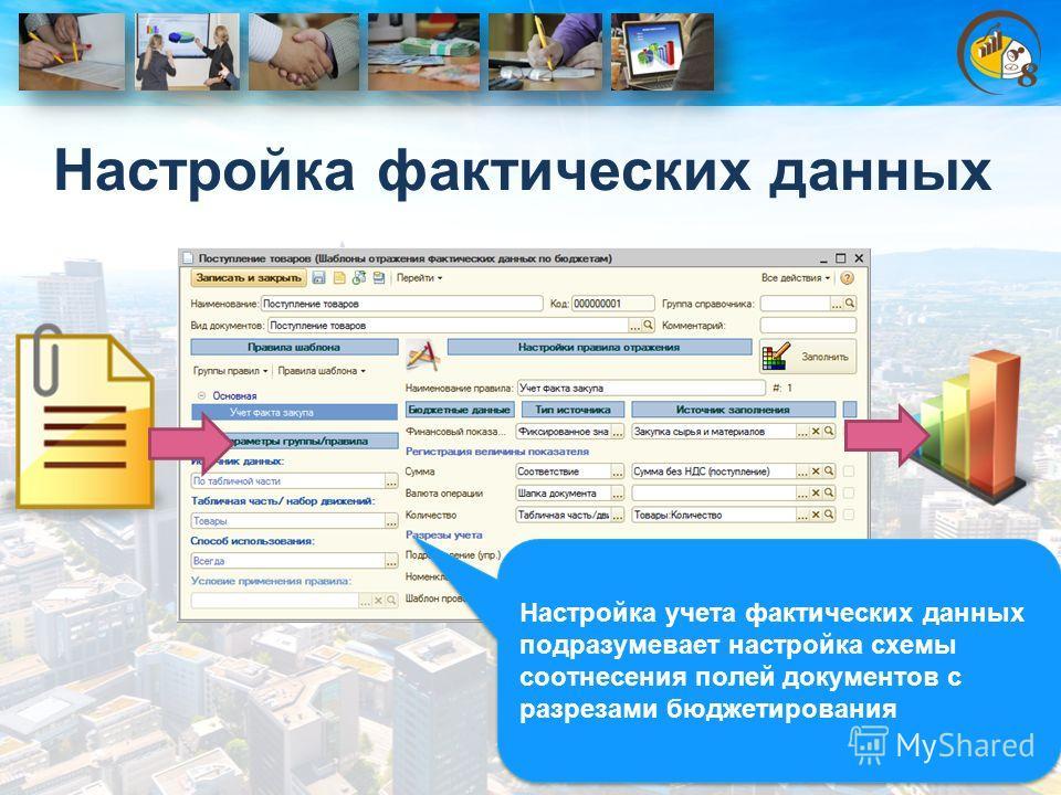 Настройка фактических данных Настройка учета фактических данных подразумевает настройка схемы соотнесения полей документов с разрезами бюджетирования