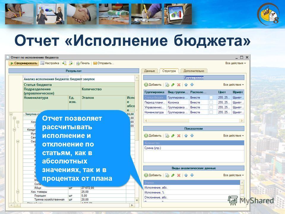 Отчет «Исполнение бюджета» Отчет позволяет рассчитывать исполнение и отклонение по статьям, как в абсолютных значениях, так и в процентах от плана