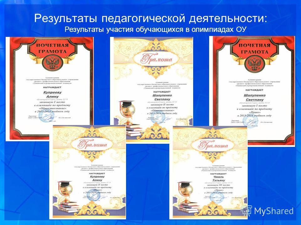 Результаты педагогической деятельности: Результаты участия обучающихся в олимпиадах ОУ