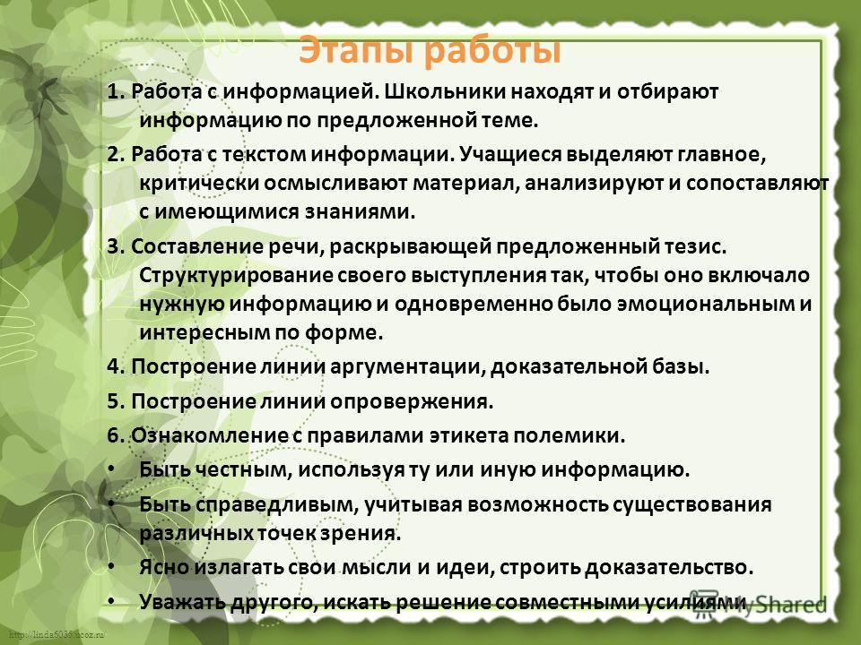 http://linda6035.ucoz.ru/ Этапы работы 1. Работа с информацией. Школьники находят и отбирают информацию по предложенной теме. 2. Работа с текстом информации. Учащиеся выделяют главное, критически осмысливают материал, анализируют и сопоставляют с име