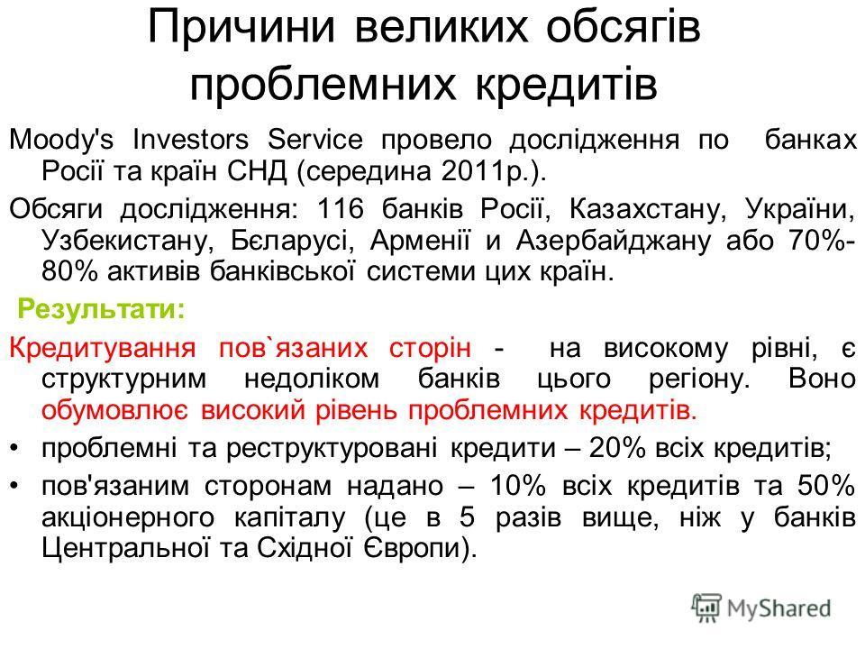 Причини великих обсягів проблемних кредитів Moody's Investors Service провело дослідження по банках Росії та країн СНД (середина 2011 р.). Обсяги дослідження: 116 банків Росії, Казахстану, України, Узбекистану, Бєларусі, Арменії и Азербайджану обо 70