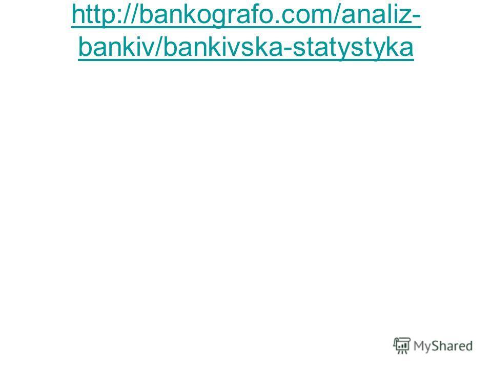 http://bankografo.com/analiz- bankiv/bankivska-statystyka