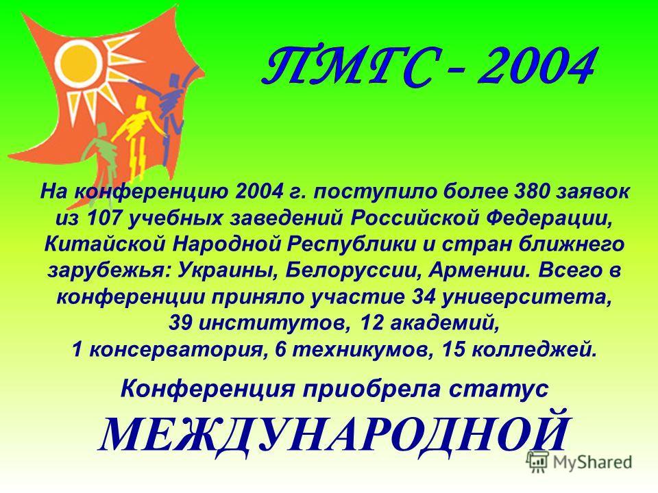 На конференцию 2004 г. поступило более 380 заявок из 107 учебных заведений Российской Федерации, Китайской Народной Республики и стран ближнего зарубежья: Украины, Белоруссии, Армении. Всего в конференции приняло участие 34 университета, 39 институто