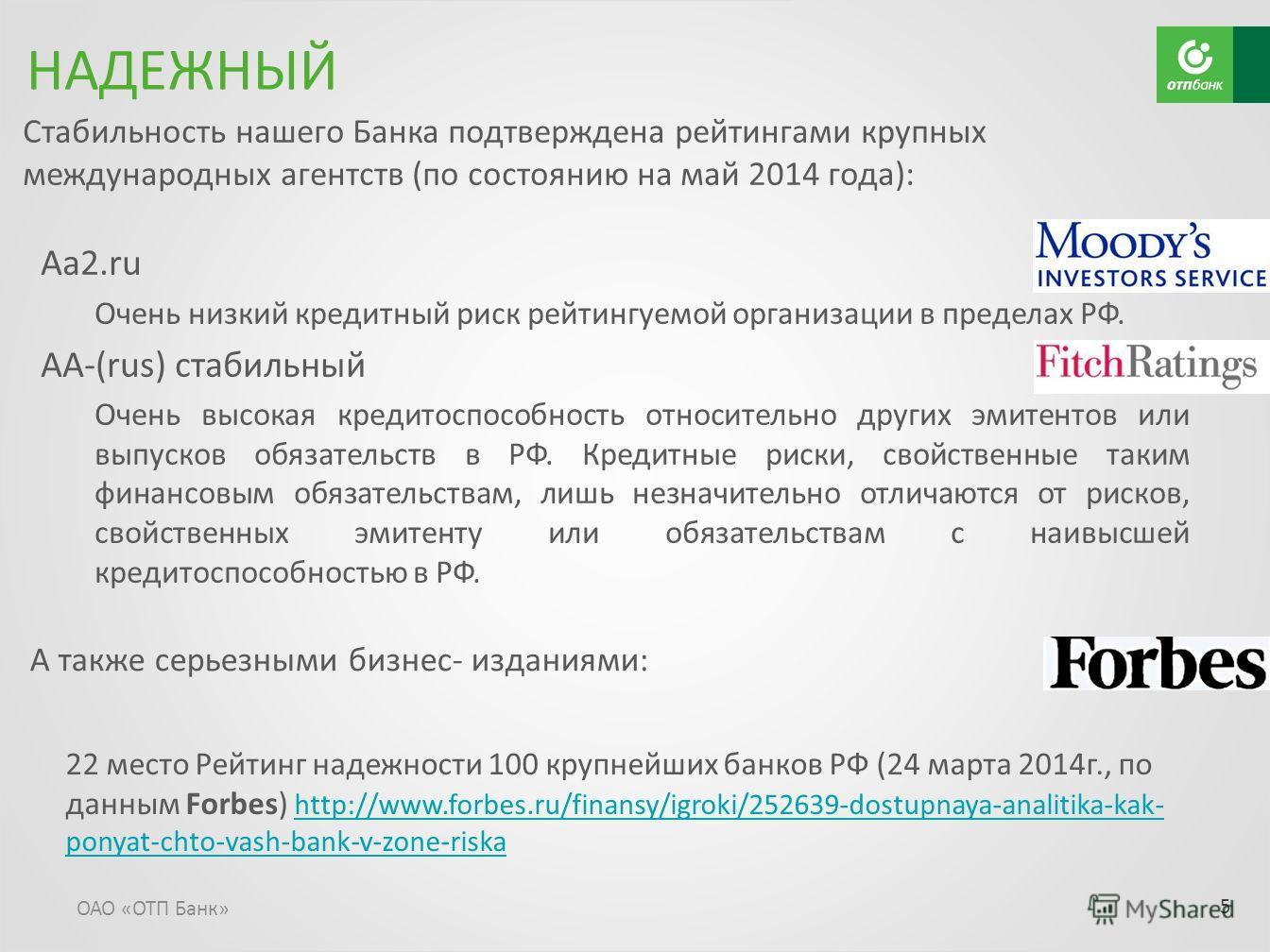 Aa2. ru Очень низкий кредитный риск рейтингуемой организации в пределах РФ. AA-(rus) стабильный Очень высокая кредитоспособность относительно других эмитентов или выпусков обязательств в РФ. Кредитные риски, свойственные таким финансовым обязательств
