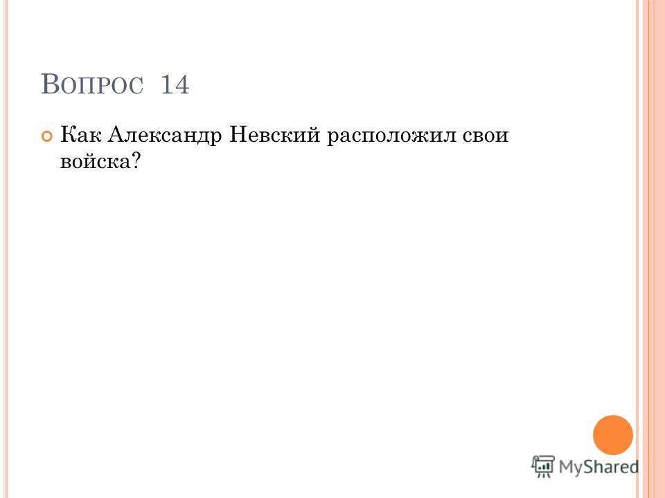 В ОПРОС 14 Как Александр Невский расположил свои войска?