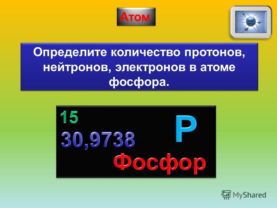 Определите количество протонов, нейтронов, электронов в атоме фосфора.