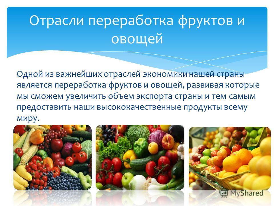 Одной из важнейших отраслей экономики нашей страны является переработка фруктов и овощей, развивая которые мы сможем увеличить объем экспорта страны и тем самым предоставить наши высококачественные продукты всему миру. Отрасли переработка фруктов и о